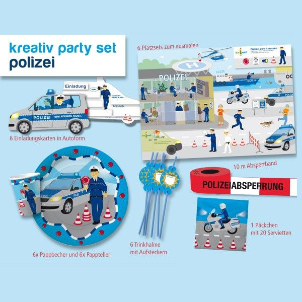 Party-Set Polizei, 26-teilig
