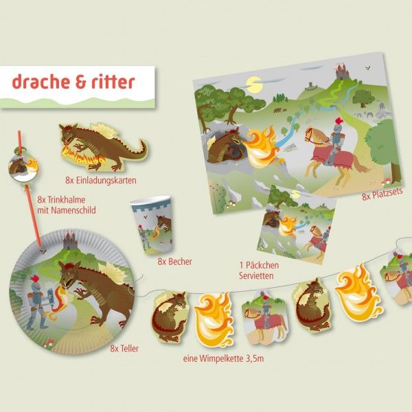 Party-Set Ritter & Drache, 42-teilig