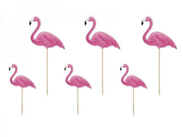 Cupcake Topper Flamingo, Hawaii, 6 Stück