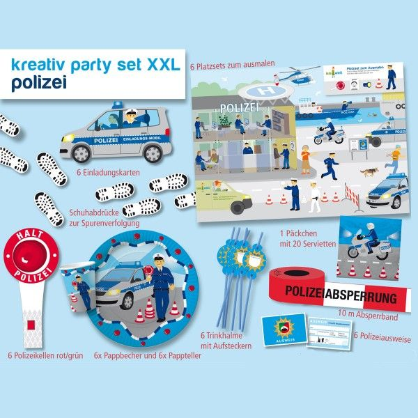 XXL Party-Set Polizei, 39-teilig