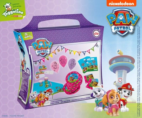 Partykoffer Paw Patrol, 51 Teile, Rosa