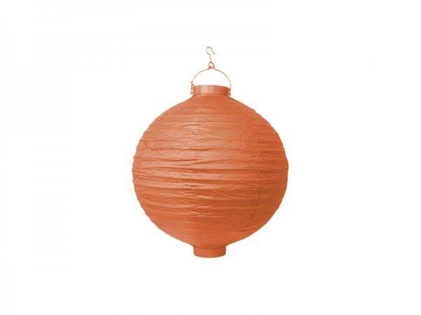 Papier-Laterne mit Beleuchtung, Lampion orange, Ø 20 cm