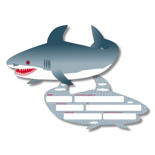 Einladungskarten Hai, 6 Stück