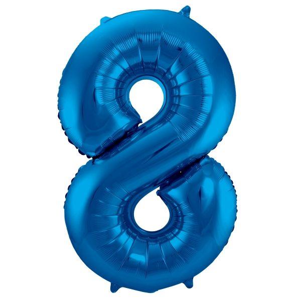 XL Folienballon Zahl 8 in Blau, 86 cm, 1 Stück, Helium Ballon (unbefüllt)