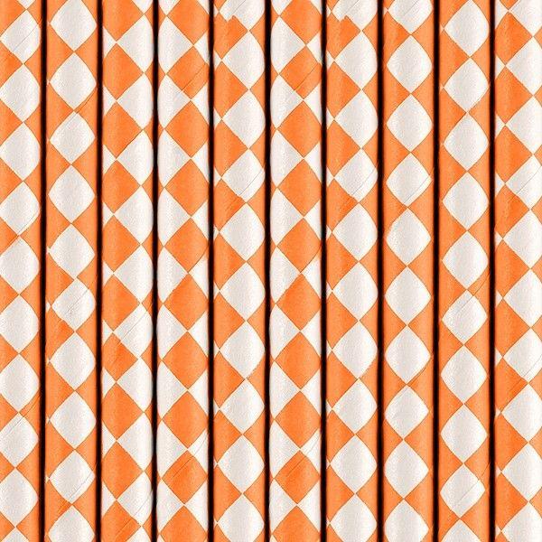 Strohhalme aus Papier, Orange, 10 Stück