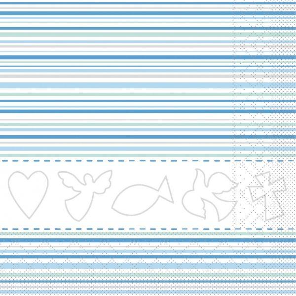 Servietten Kommunion/ Konfirmation, blau, 33cm, 20 Stück