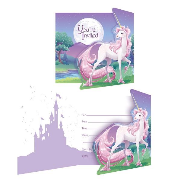 Einladungskarten Einhorn, 8 Stück