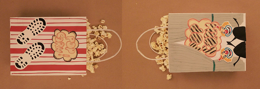 Tolle Popcorntüten garantieren einen riesigen Spaß in der Zirkusmanege.