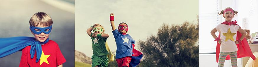 Willkommen auf der Superheldenparty! • Foto: stokkete / Fotolia.com; Andrew Rich, Blend Images - KidStock / gettyimages.de