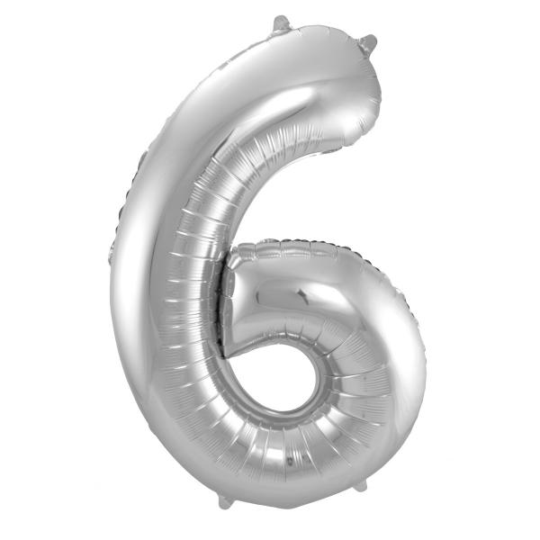 XL Folienballon Zahl 6 in Silber, 86 cm, 1 Stück, Helium Ballon (unbefüllt)