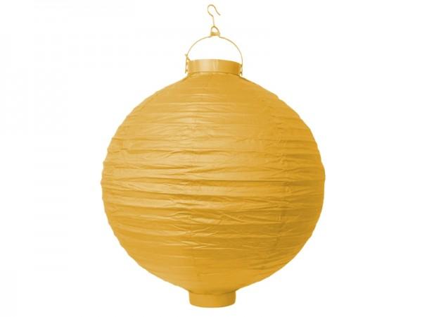 Papier-Laterne mit Beleuchtung, gelb, Ø 20 cm
