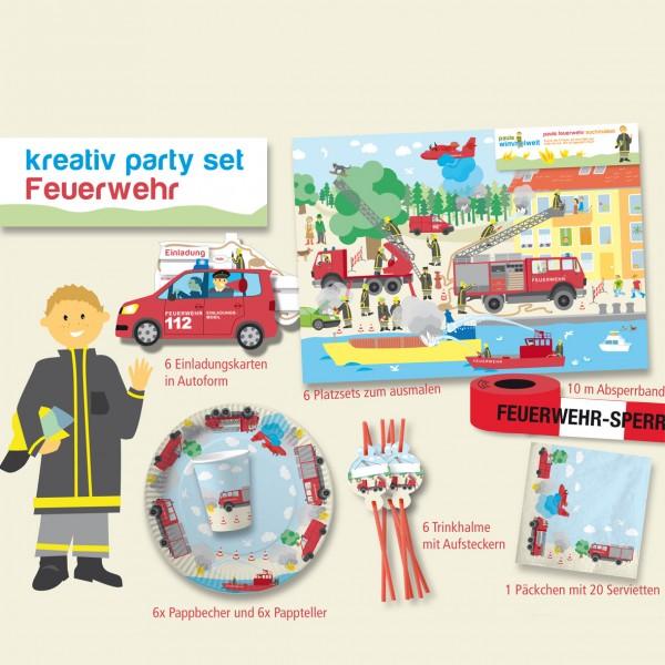 Party-Set Feuerwehr, 32-teilig
