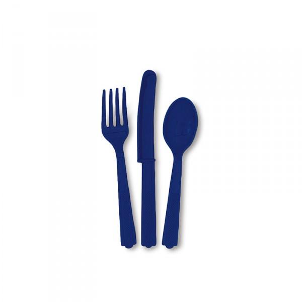 Besteck blau, 18-teilig