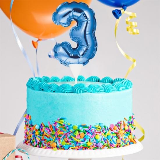 Kuchenpicker Folienballon Zahl 3 in Blau, 22 cm klein, selbstaufblasend, 1 Stück