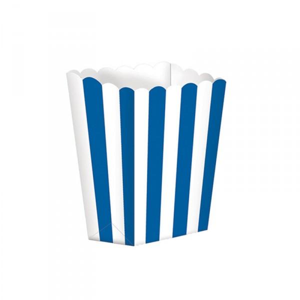 Popcorntüten, blau/weiß, 5 Stück