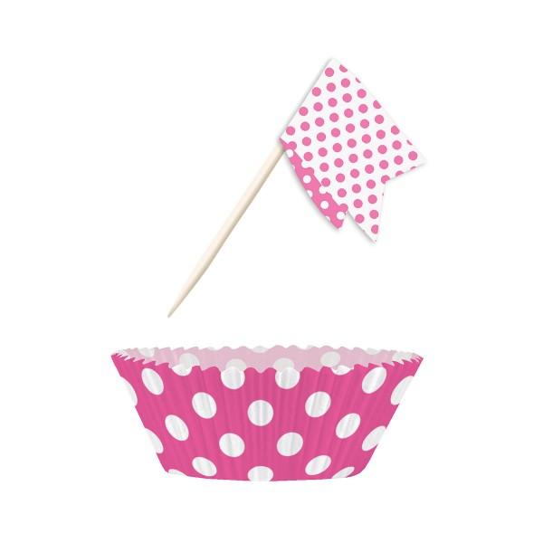 Muffin Kit Punkte, pink, 24 Stück