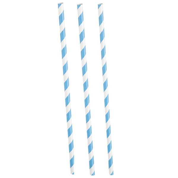 Strohhalme gestreift, Hellblau / Weiß, 10 Stück