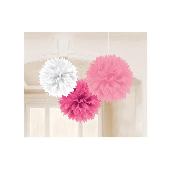Pompons in Rosa, Weiß und Pink, 3 Stück