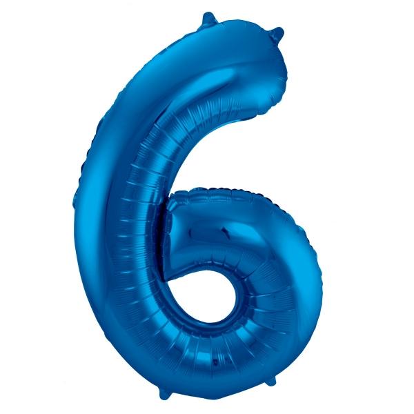 XL Folienballon Zahl 6 in Blau, 86 cm, 1 Stück, Helium Ballon (unbefüllt)