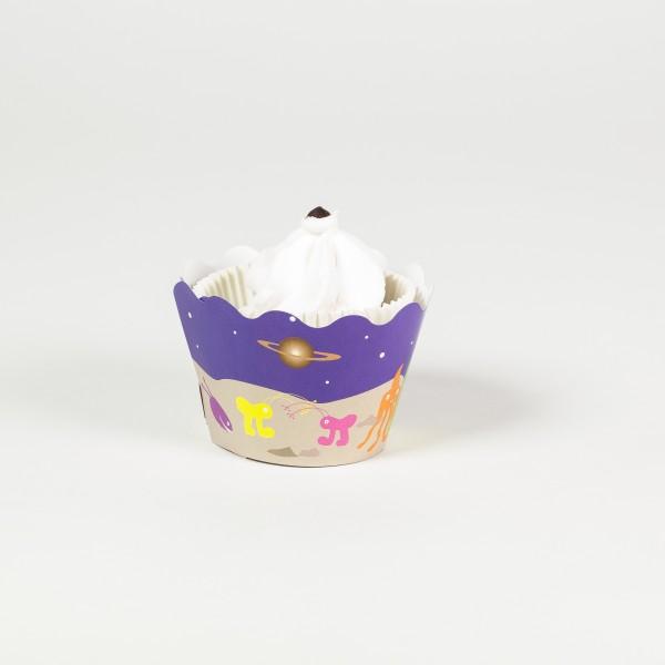 Deko-Banderolen für Muffins und Cupcakes Weltraum, 12 Stück