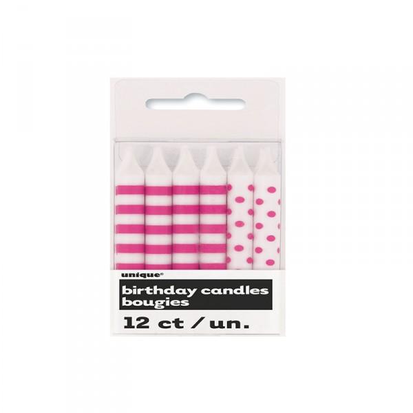 Kerzen Punkte und Streifen, Pink, 12 Stück