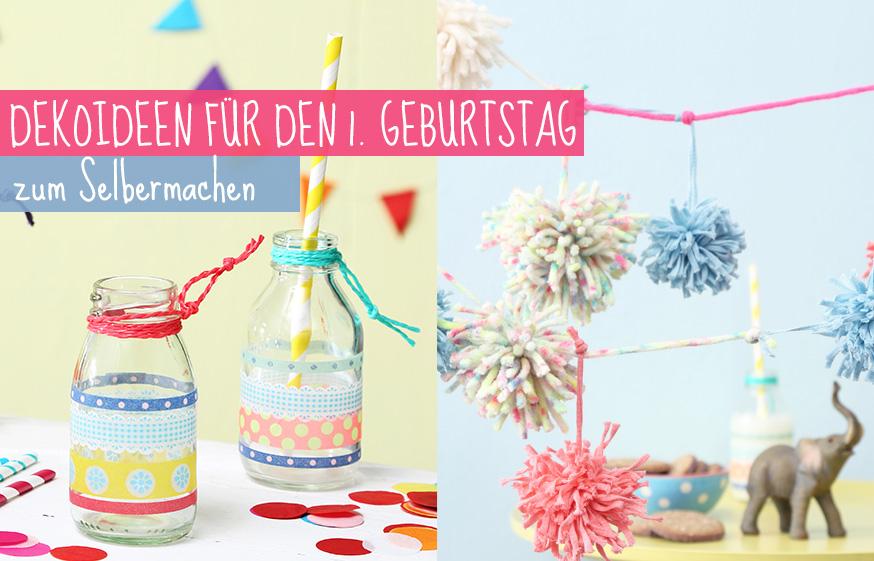 Simple, aber eindrucksvoll: Verzierte Glasflaschen und Pompongirlande für den 1. Geburtstag. • Umsetzung und Foto: Thordis Rüggeberg