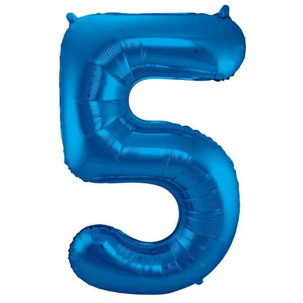 XL Folienballon Zahl 5 in Blau, 86 cm, 1 Stück, Helium Ballon (unbefüllt)