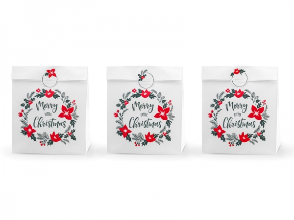 Tüten Weihnachten, Geschenktüte Merry little Christmas,weiß, 3 Stück groß mit Sticker