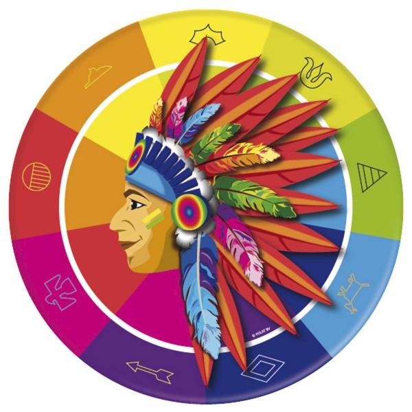 Pappteller Indianer, Ø 23cm, 8 Stück