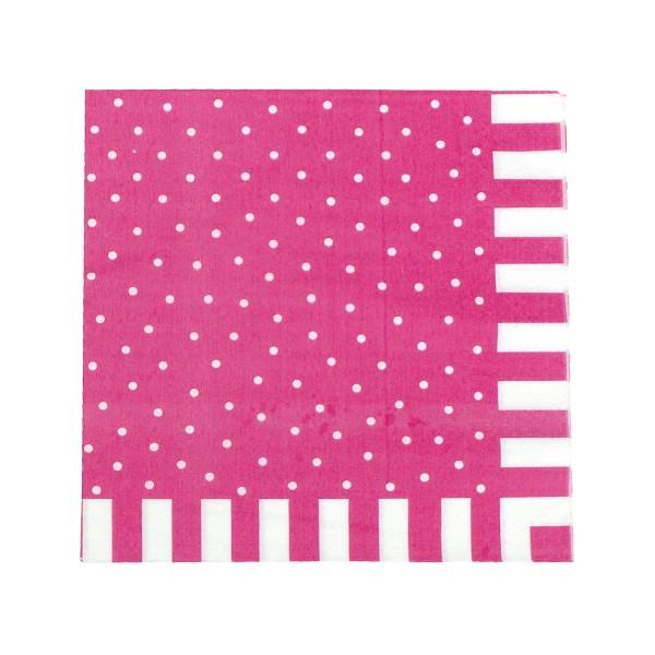 Servietten mit Punkten, pink, 20 Stück