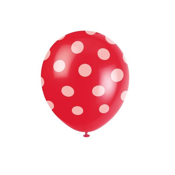 Luftballons mit Punkten rot, 6 St