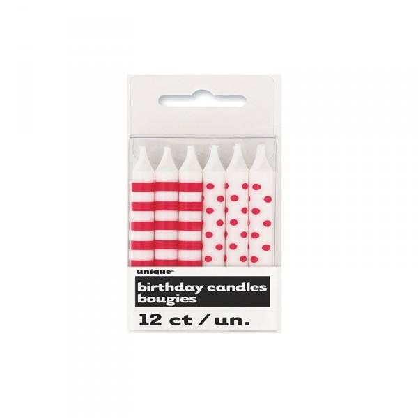 Kerzen Punkte und Streifen, Rot, 12 Stück