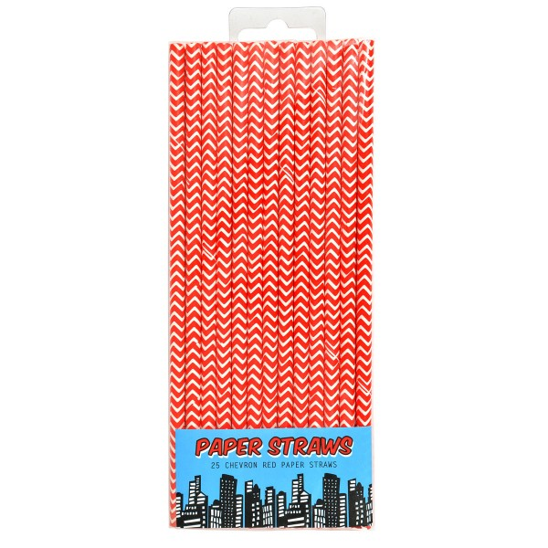 Strohhalme Pop Art Pop Art Superhelden, rot, 19,5 cm, 25 St