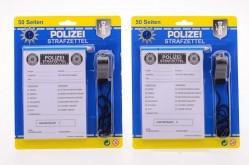 Polizei Strafzettel mit Stift und Trillerpfeife