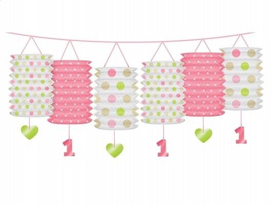 Laternen-Girlande 1. Geburtstag, Rosa und Grün, 3,6 m