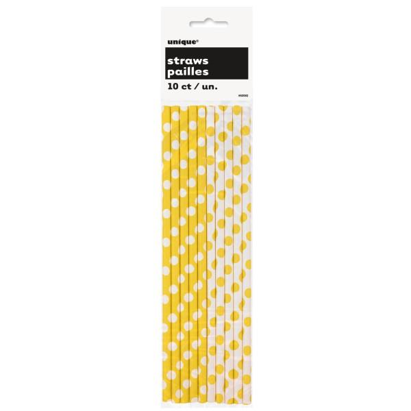 Strohhalme Punkte, gelb, 10 St