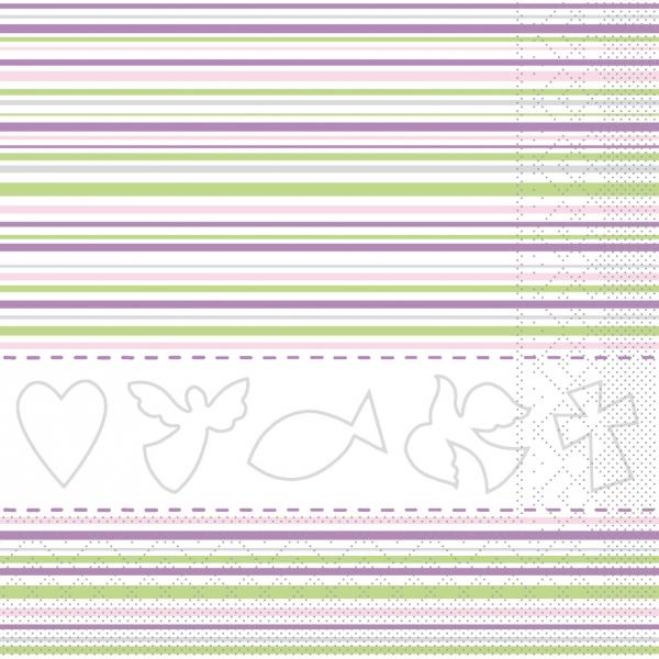 Servietten Kommunion/ Konfirmation, rosa-grün, 33cm, 20 Stück