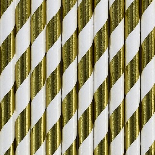 Strohhalme aus Papier, Weiß-Gold, 10 Stück