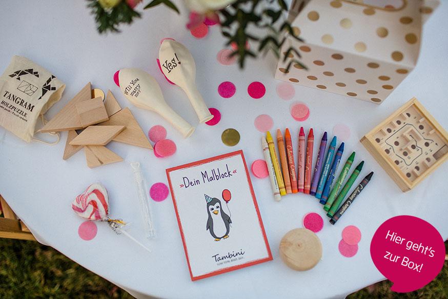 Auf einen Blick: das alles gibt's in der großen Hochzeitsbox! • Foto: Corinna Keiser