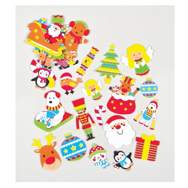 Moosgummi-Aufkleber Weihnachten, 100 Stück
