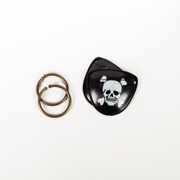 Augenklappen mit Ohrringen Pirat, je 2 Stück
