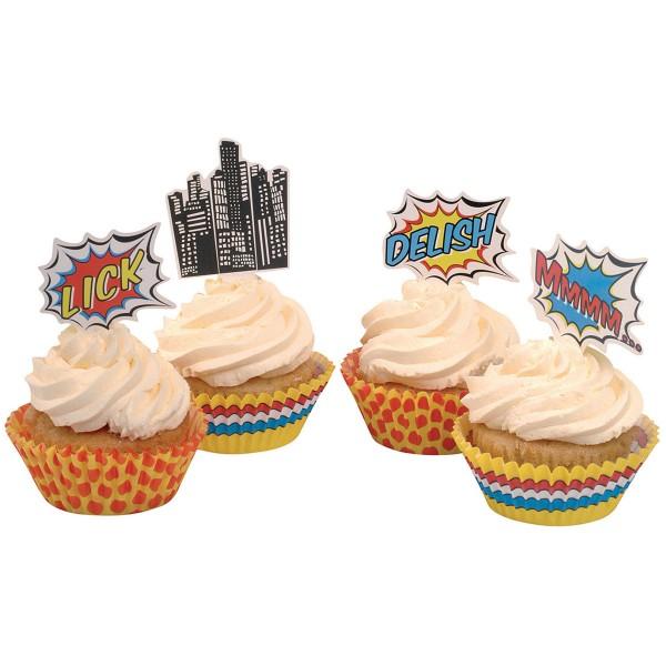 Muffinformen und Muffinpicker Pop Art Superhelden, 50 Formen und 20 Picker