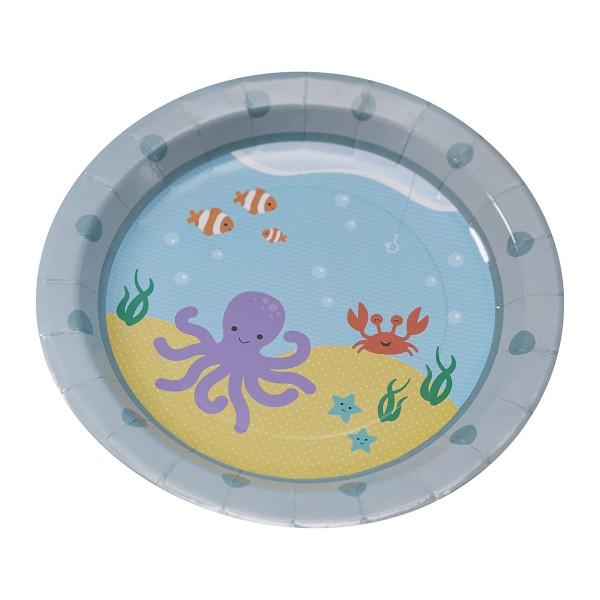 Pappteller Unterwasserwelt, ø 23cm, 8 Stück X