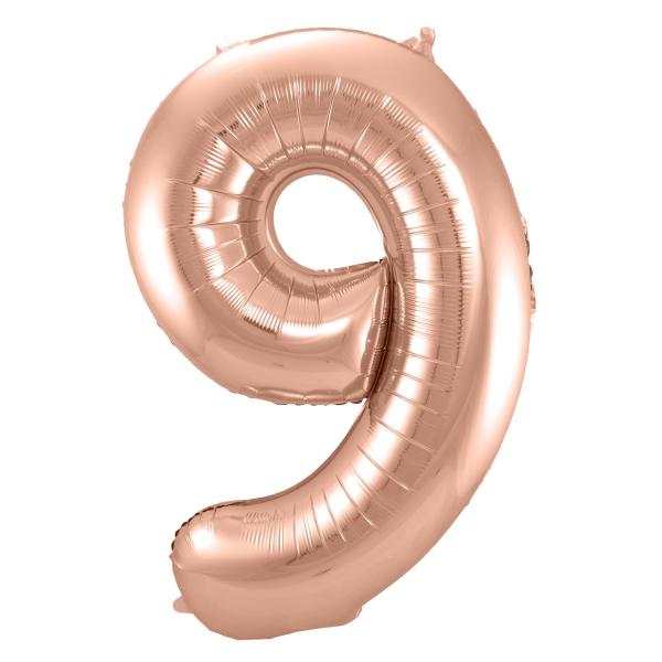 XL Folienballon Zahl 9 in Rose-Gold, 86 cm, 1 Stück, Helium Ballon (unbefüllt)