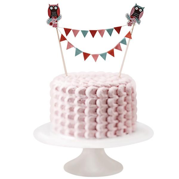 Kuchen-Wimpelkette Eule, 17cm hoch