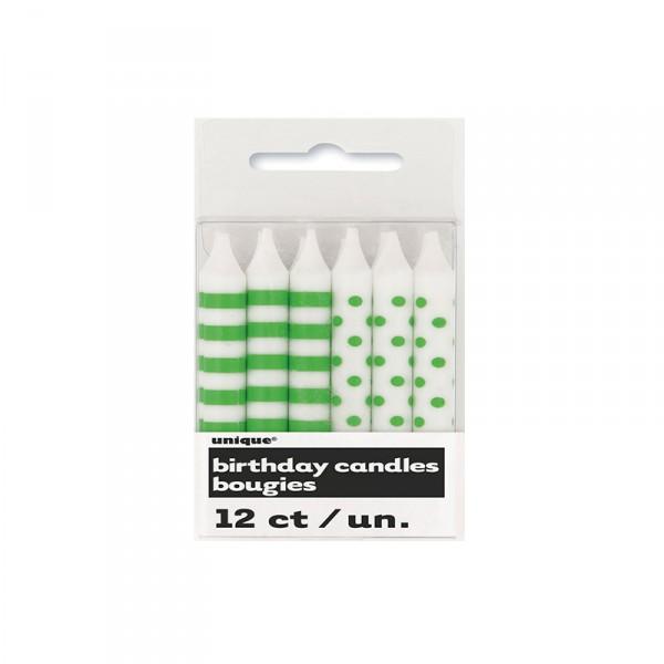 Kerzen Punkte und Streifen, Grün, 12 Stück