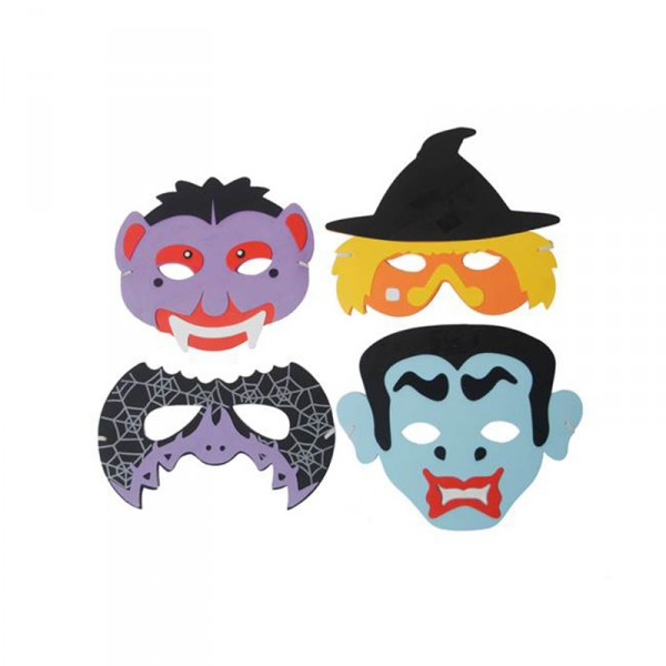 Moosgummi-Masken Halloween, 4 Stück