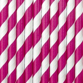 Strohhalme aus Papier, weiß-pink, 10 Stück