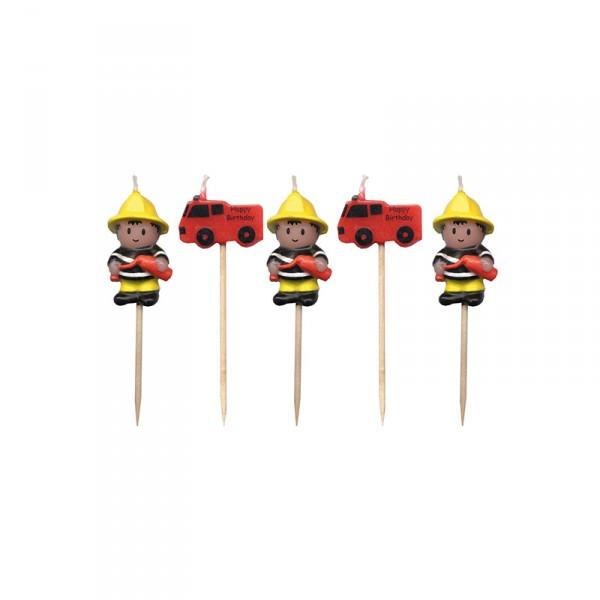 Minikerzen Feuerwehr, 5 Stück X X