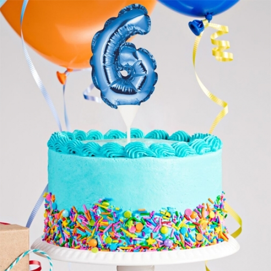 Kuchenpicker Folienballon Zahl 6 in Blau, 22 cm klein, selbstaufblasend, 1 Stück